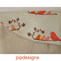 Flap Zipped Purse Pink & Orange Cute Birds on Cream