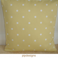 16 inch Cushion Cover Yellow White Polka Dot Dots Spots 16""