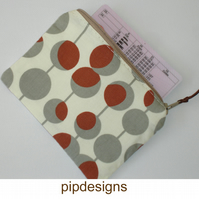 Zipped Coin Purse Brown Grey Geometric