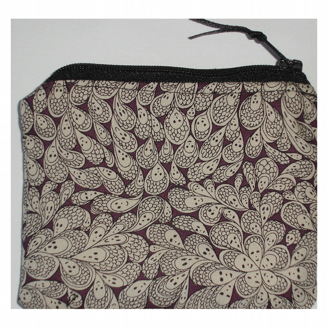 Liberty Fabric Cranford by Grayson Perry Zipped Purse Emo