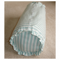 "Bolster Cushion Cover 16""x6"" Round Cylinder Duck Egg Stripes Frilled With Ruffle"