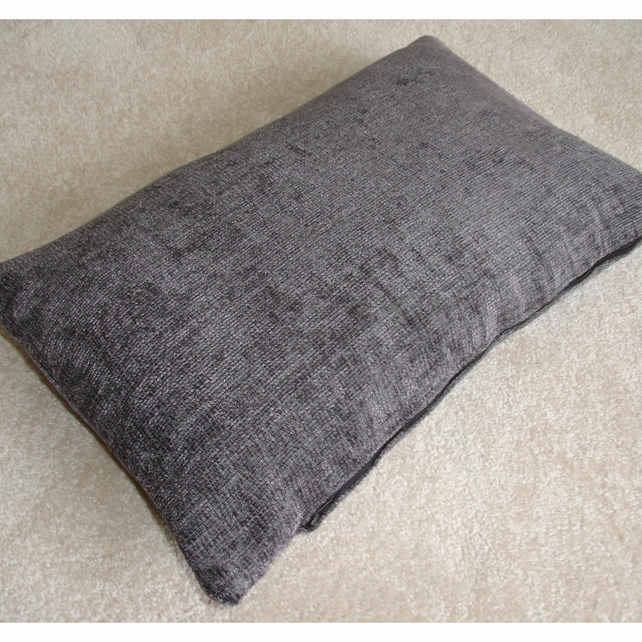 "Tempur Travel Pillow Cover Grey Chenille 16""x10"" 16x10"