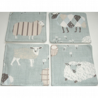 Set of 4 Sheep Fabric Coaster Coasters Four Pack