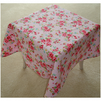 "Small 36"" Square Pink and Red Roses Tablecloth Coffee Picnic Table"
