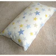 "Tempur Travel Pillow Cover Stars 16""x10"" 16x10 Blue Yellow Grey Star"