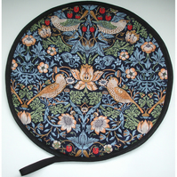 Aga Hob Lid Mat Pad Round Cover With Loop William Morris Strawberry Thief Blue