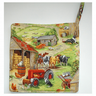 Farmyard Pot Holder Oven Grab Pad Kitchen Mat Cows Potholder Tractor