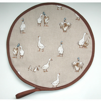 Aga Hob Lid Mat Pad Hat Round Cover With Loop Ducks and Ducklings