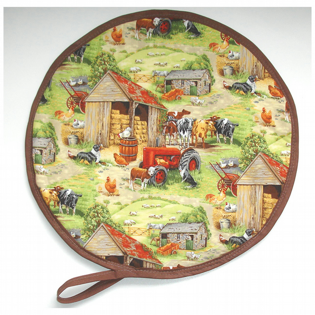 Aga Hob Lid Mat Pad Hat Round Cover With Loop Farm Red Tractor