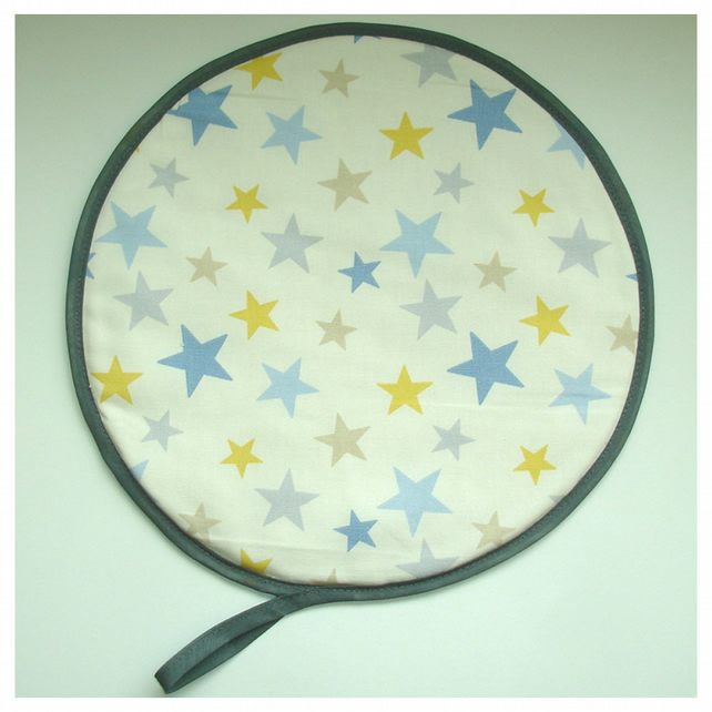 Aga Hob Lid Mat Pad Hat Round Cover Stars Blue Yellow Grey Star
