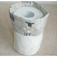 Toilet Roll Holder 2 Loo Roll Storage Basket Sheep