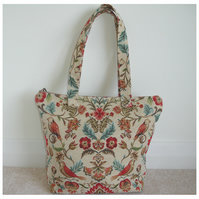 Tapestry Shoulder Bag Birds and Flowers Smart Shopping Tote