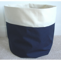 Toilet Roll Holder 2 Loo Roll Storage Basket Navy Blue