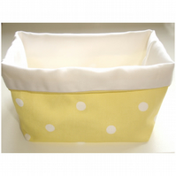 Fabric Storage Basket - Yellow Polka Dots Easter Gift Hamper