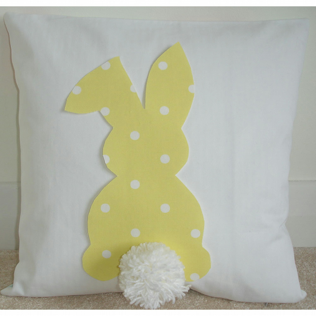 Easter Bunny Rabbit Cushion Yellow and White Fluffy Pom Pom Tail