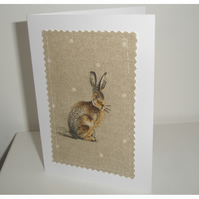 Pack of Four Hare Notelets Blank Cards Rabbit