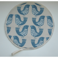 Aga Hob Lid Mat Pad Hat Round Cover Surface Saver Blue Birds Scandi Bird