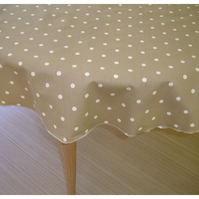 "Round Tablecloth 48"" Beige Polka Dot"