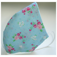 Face Mask Pink Flowers Pale Blue