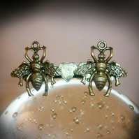Double Bee and Heart  Ring