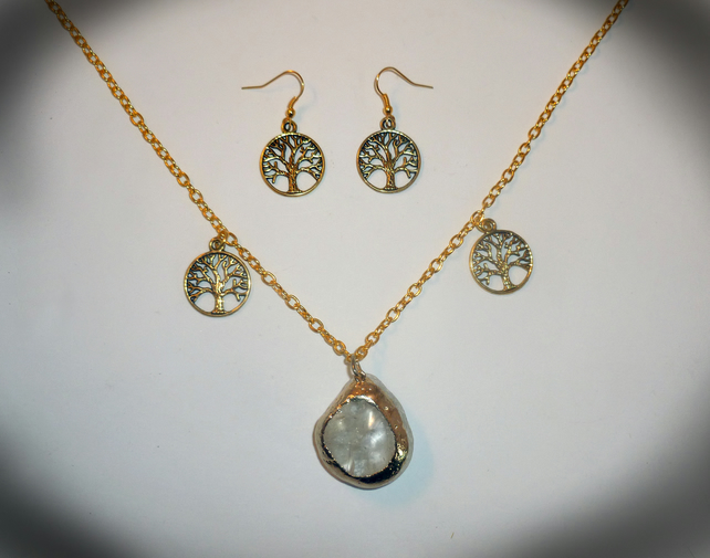 Golden Quartz Necklace and Earrings Set