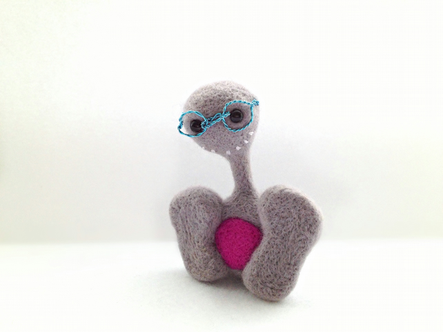 Walter the Pheeple - Needle Felted Grey Character with Wire Glasses