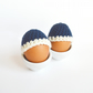 Crochet Egg Cosies in Navy Blue 100% Merino Wool - Set of 2 - Made To Order