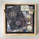 Handmade birthday cardl 3D clocks and cogs embossed 20cm square card.