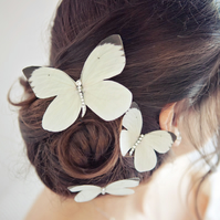 Trio White Wedding butterfly hair clips