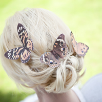 Trio Silk Butterfly hair clips with Swarovski Crystals. Large Browns.