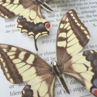 Silk Butterfly hair clip - Large Swallowtail with Swarovski Crystals.