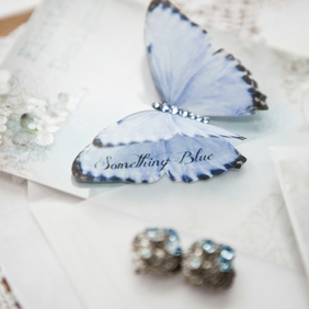 Something Blue Silk Butterfly Clip - personalised wedding keepsake
