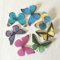 Silk Butterfly hair clips with Swarovski Crystal - Bright bold colours, set of 7