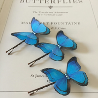 Silk Butterfly Hair Pins - Set of three Blue Morpho butterflies with Crystals