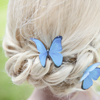 Single blue morphs silk butterfly hair pin with Swarovski crystal.