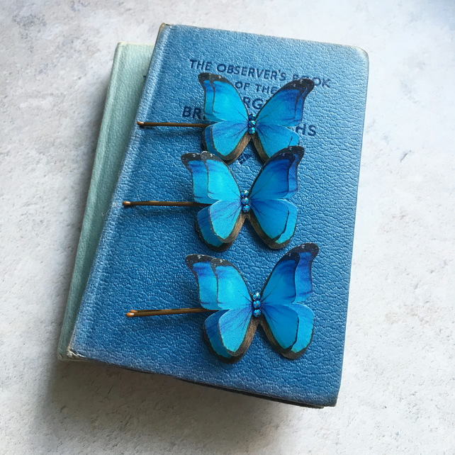 Dollhouse Miniature Handcrafted Blue Morpho Butterfly