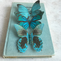 Trio of Teal silk butterfly hair clips with Swarovski Crystals.