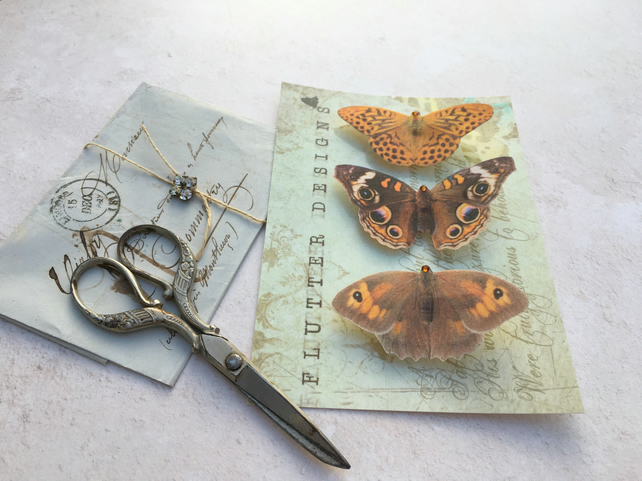 Trio of beautiful brown silk butterfly hair clips with Swarovski Crystals.