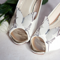 Ivory silk butterfly shoe clips with Swarovski Crystals