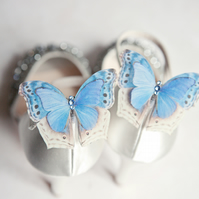 Something Blue silk butterfly shoe clips with Swarovski Crystals