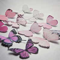 Silk Butterfly hair clips with Swarovski Crystal - Select your favourite 5!