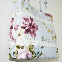 SALE Handbag 'Calphurnia', Floral Fabric, Lace, Pastels, Blue, Lilac, Green