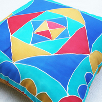 "Silk Cushion Cover, Hand-Painted 'Jester', Gold Silk Back 16"" Square"