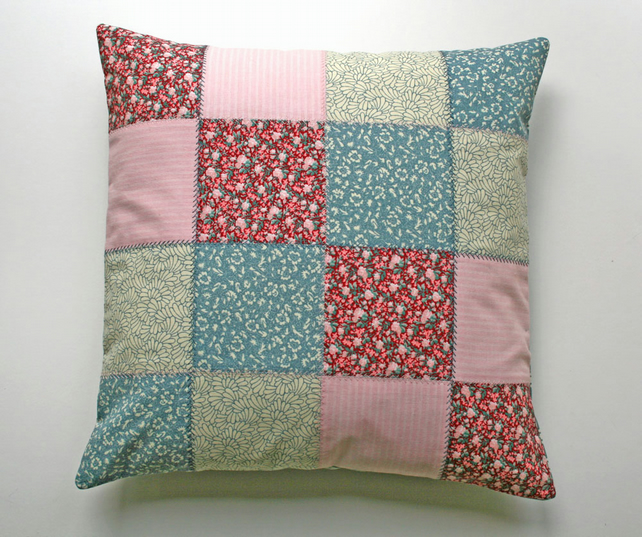 Sale Patchwork Cushion Cover Cotton Button Cl Folksy