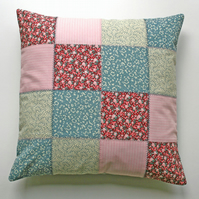 SALE Patchwork Cushion Cover, Cotton, Button Closure