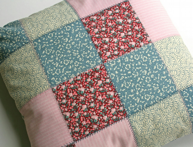 Patchwork Cushion Cover, Cotton, Button Closure, 40cm Square