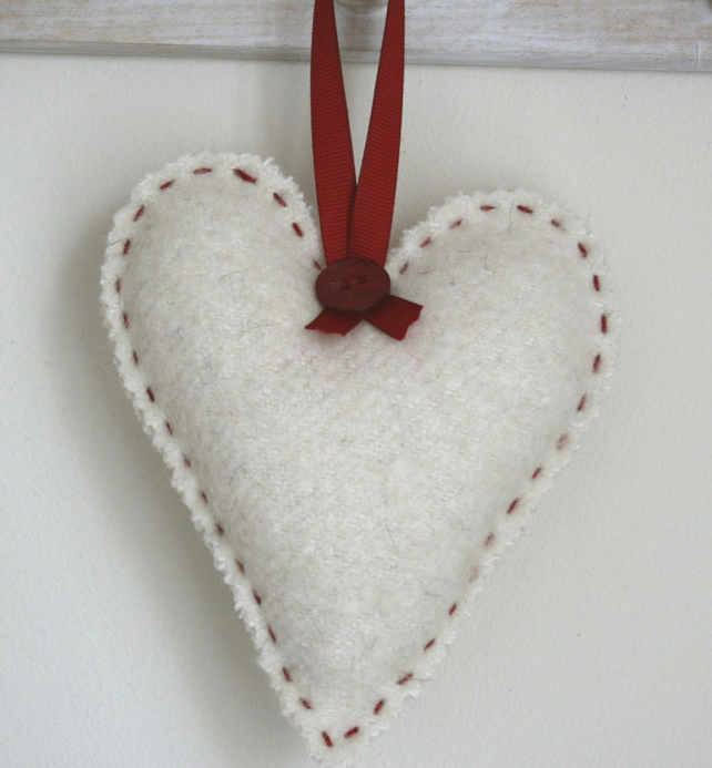 Felted Wool Heart Hanging Decoration, Unscented, Padded, Cream & Red