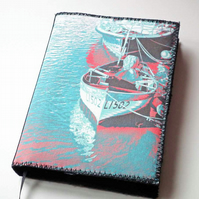A6 Notebook Cover, Riverside Boats, Photo-Art, Lined Notebook