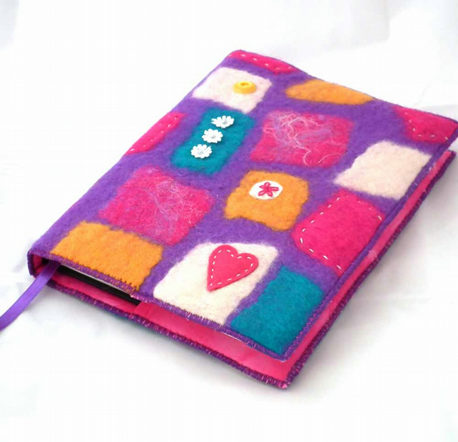Handmade Felt Book Cover : Notebook sketchbook journal diary cover a folksy
