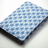 Notebook Cover, A6, Blue & White Fabric